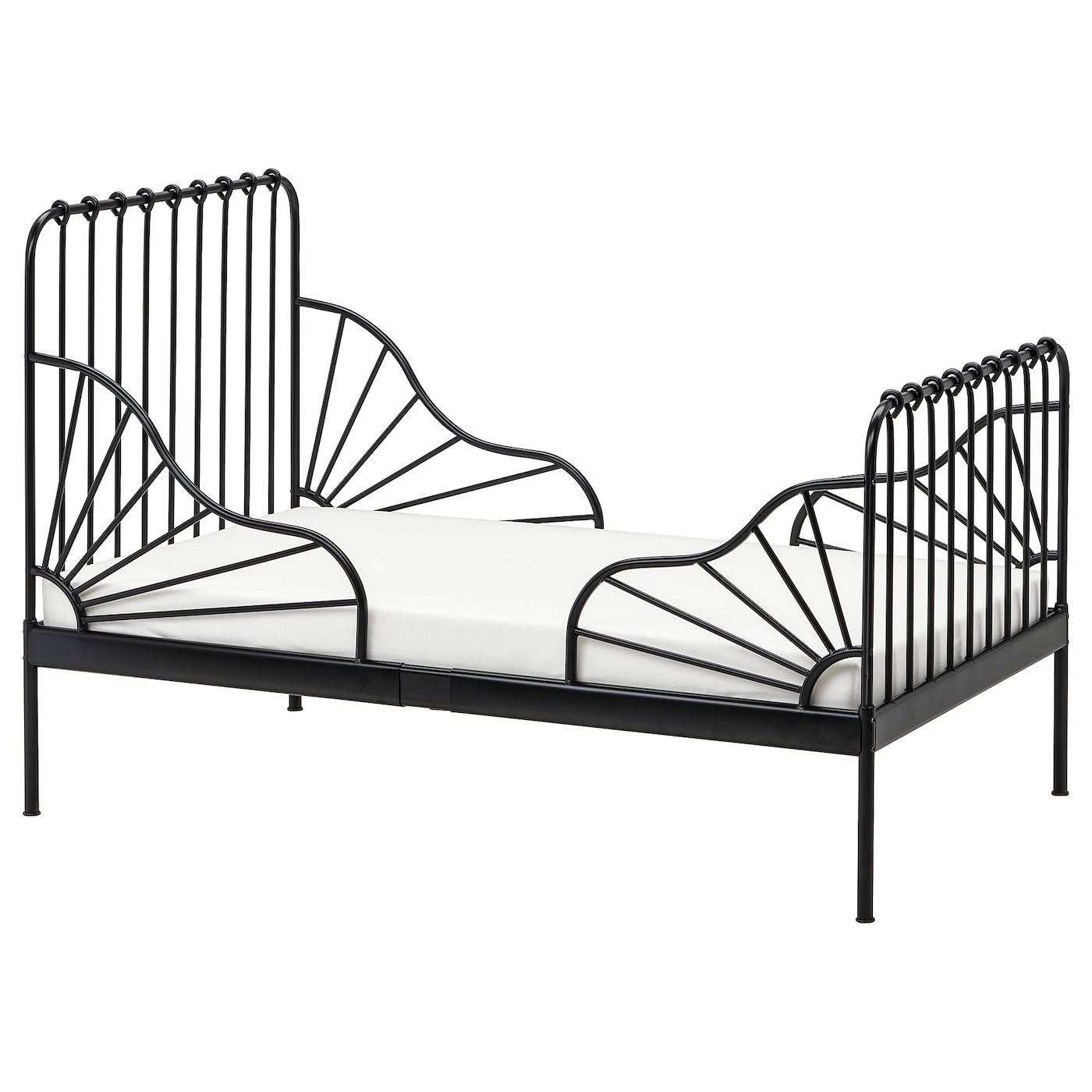 Ext Bed Frame With Slatted Bed Base Black 38 1 4x74 3 4 In