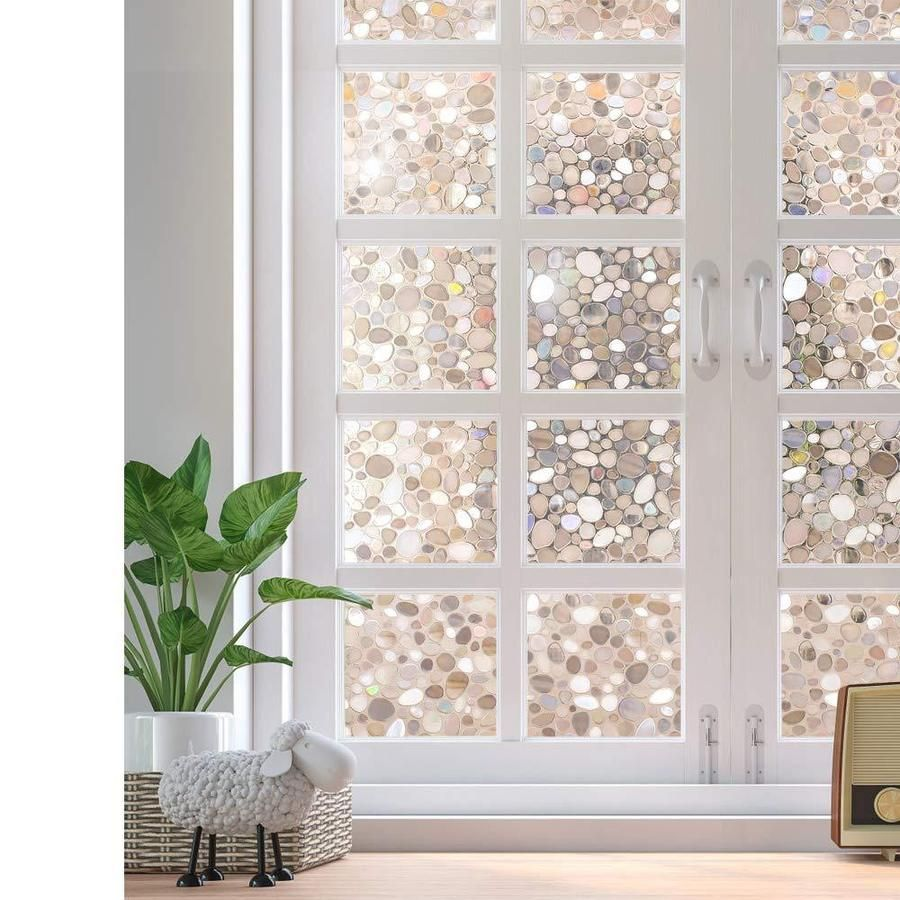 Decorative Window Film Non Adhesive Window Privacy Film For Glass Windows Frosted Window Clings For Home Office Privacy Uv Protection Glue Free 3d Pebbles In 2020 Window Film Privacy Decorative Window Film