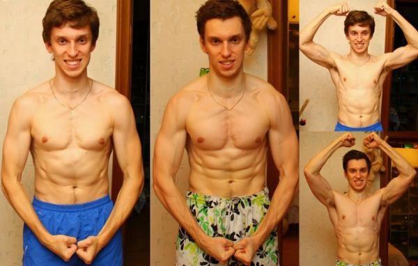 аналогичная фото до и после занятия воркаутом этот