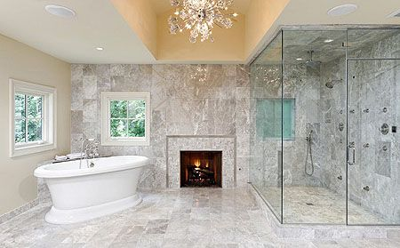 bathrooms with fireplaces fireplaces arent just for family rooms - Luxury Bathrooms With Fireplaces