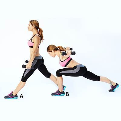 #workout  #fitness | Health.com #Lunge #with  Crescent Lunge with Reverse Fly