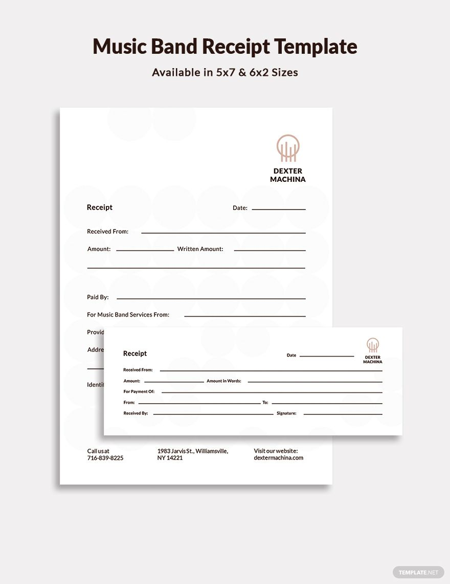 Music Band Receipt Template Free Pdf Word Psd Indesign Apple Pages Illustrator Publisher Receipt Template Music Bands Templates