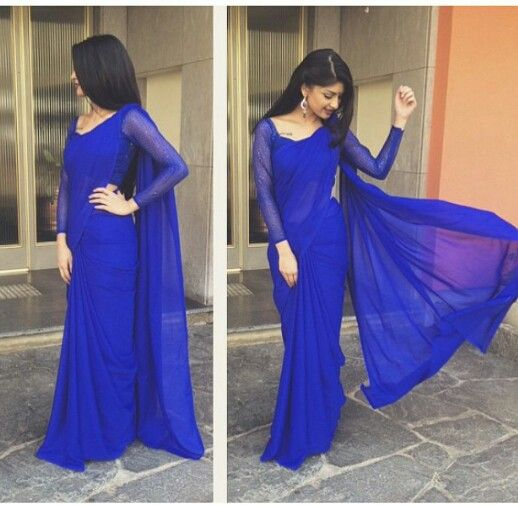 99b6a9a30955d1 Plain royal blue saree Más