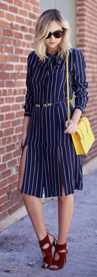 #spring #street #style #stripe #outfitideas | Striped Midi Shirtdress | Late Afternoon