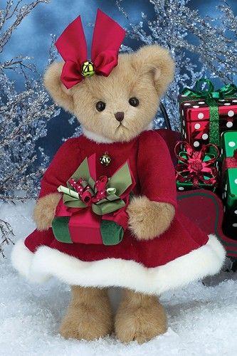 14 inches Bearington Christa Cane Christmas Stuffed Animal Teddy Bear