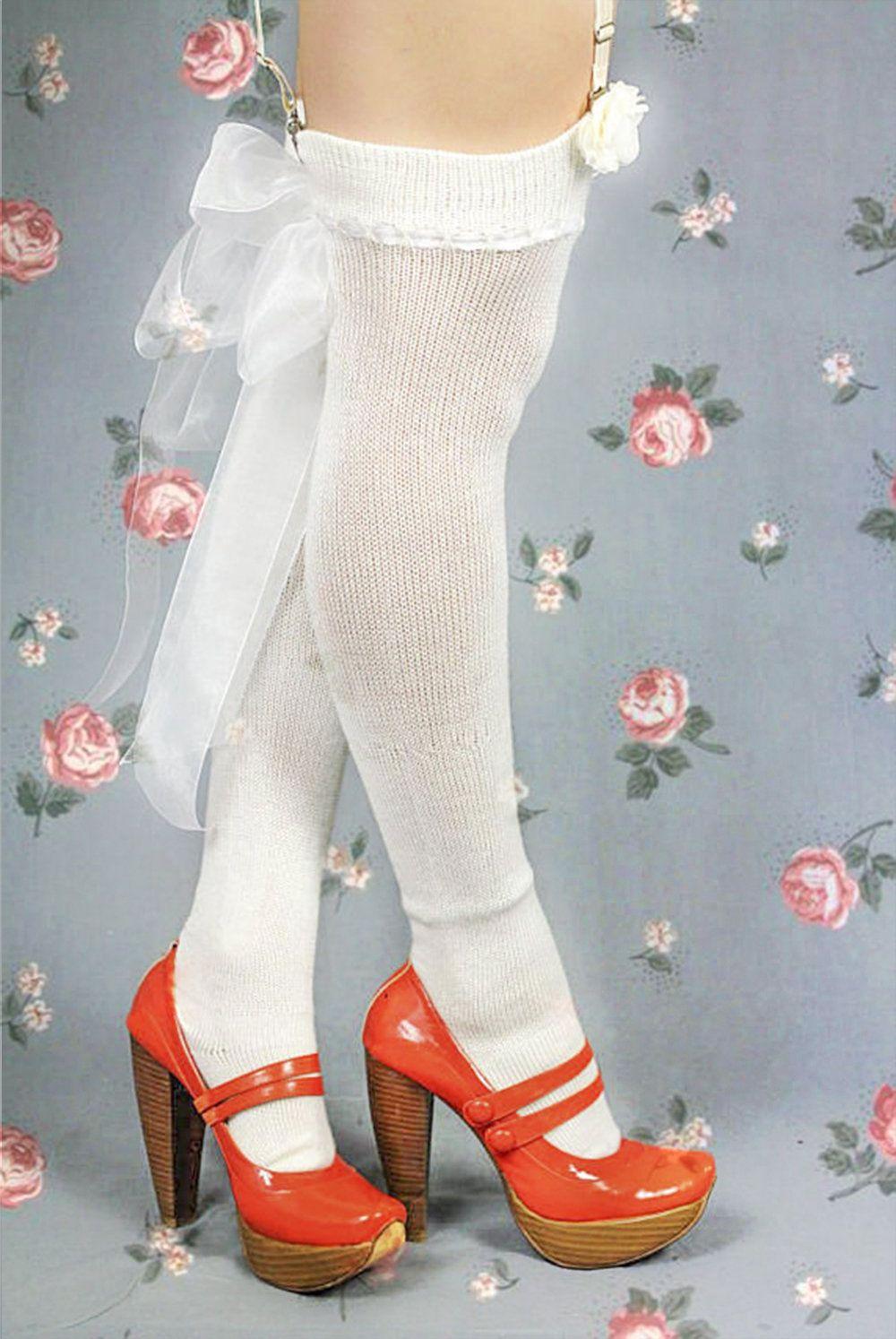 8b9dedda027 CASHMERE Silk Thigh High Stockings w sheer ribbon - Victorian Steampunk  Over the knee Socks - Burlesque Stockings for Boho Winter Wedding