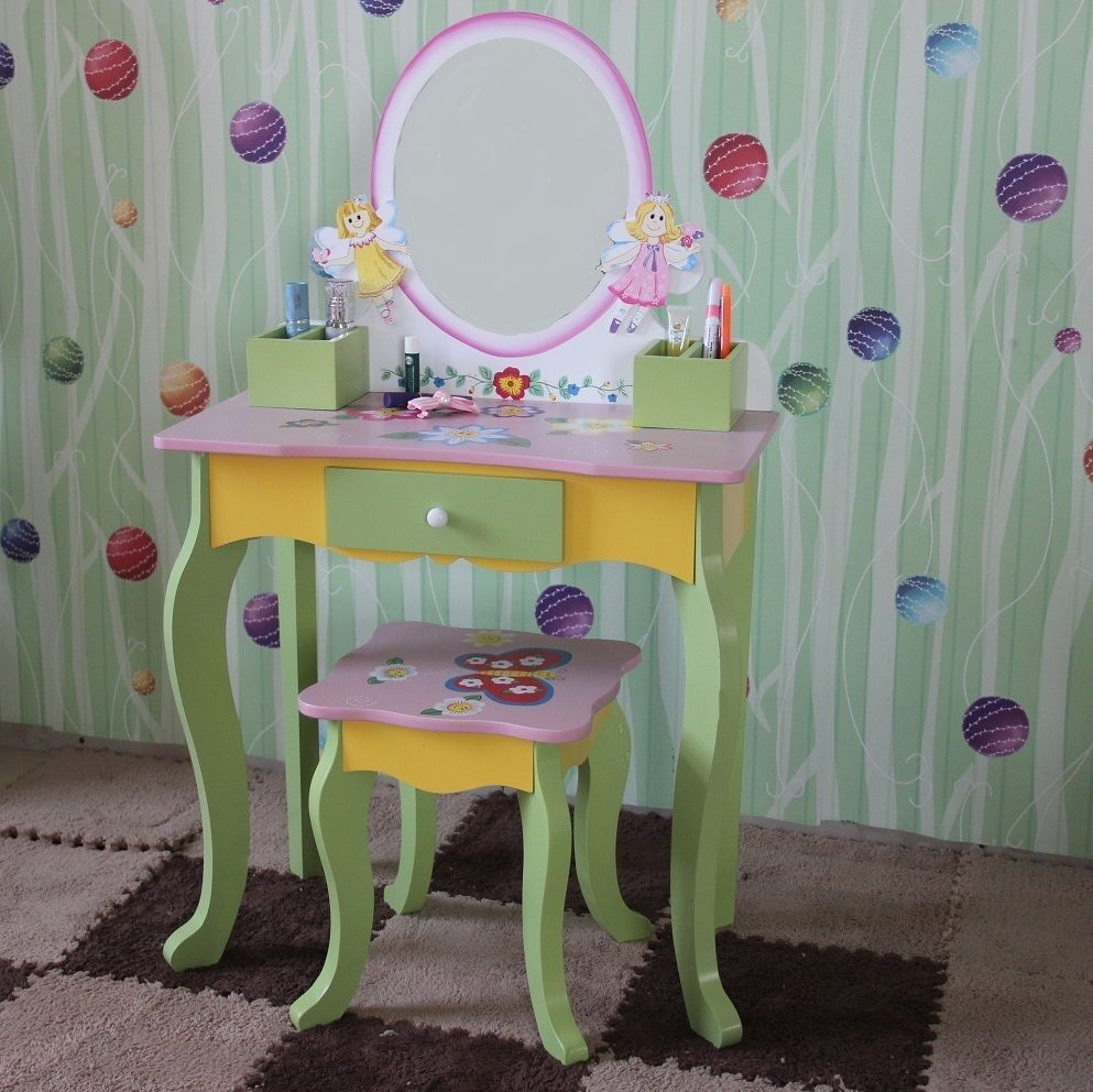 Children Furniture Kids Girls Vanity Butterfly Fairy Dressing Table U0026 Stool  New