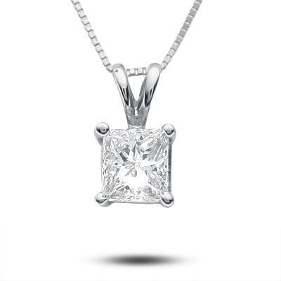 "1 Ct Princes Cut Brilliant Diamond Pendant in Solid 14k White Gold 18/"" Necklace"