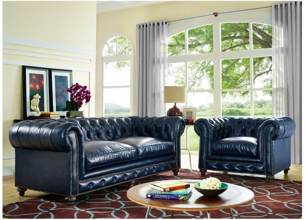Best Chesterfield Sofa Chair Blue Leather Tufted Navy Couch 640 x 480