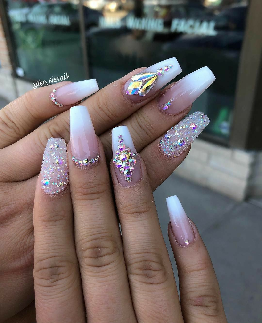 Coffin Prom Nails In 2020 Nails Design With Rhinestones Diamond Nail Art Design Diamond Nail Designs