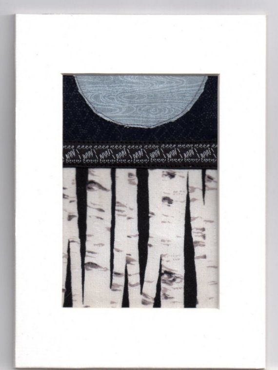Blue Moon White Birch Winter Forest Mini Crazy by LMOartTextiles