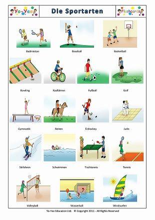 sportarten auf englisch