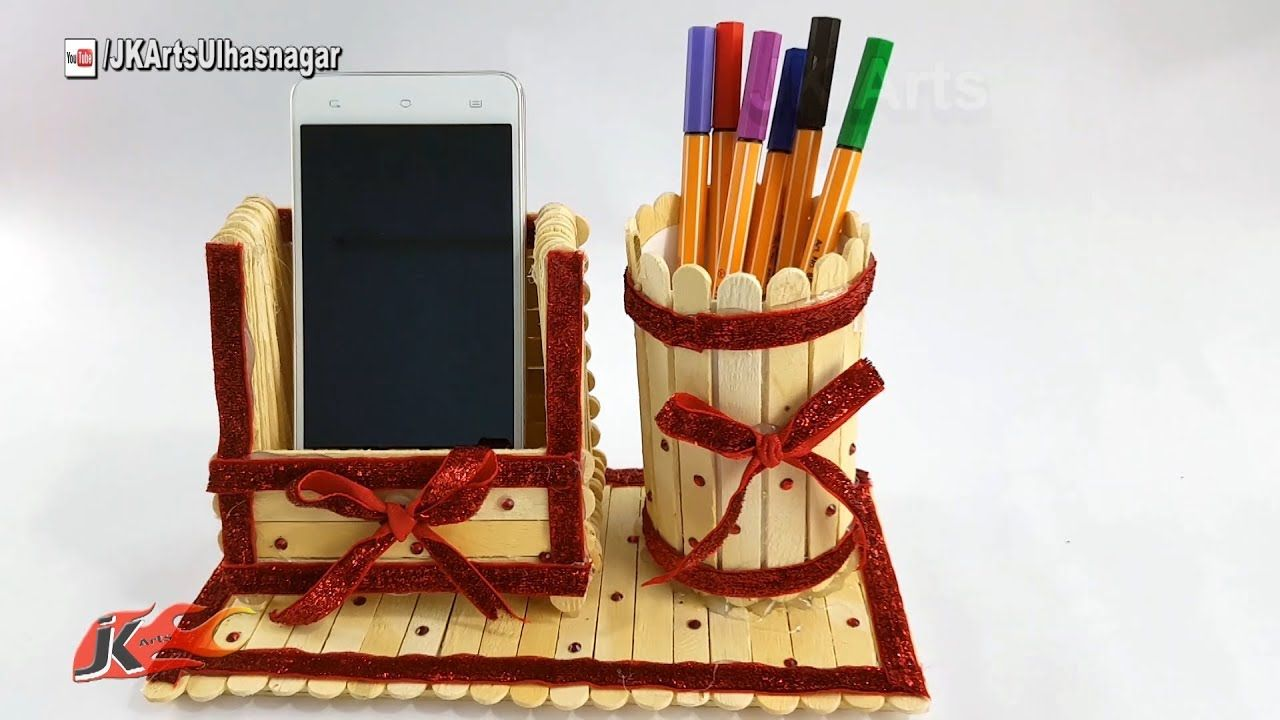 Diy Pen Stand And Mobile Phone Holder With Icecream Sticks