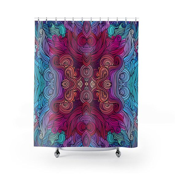 Psychedelic Shower Curtain Boho Decor Hippy Decor Tribal Hippie