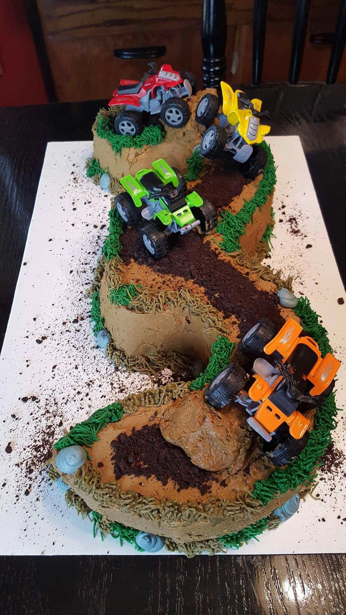 Three Year Old Cake With Four Wheelers Birthday Party Snacks 2