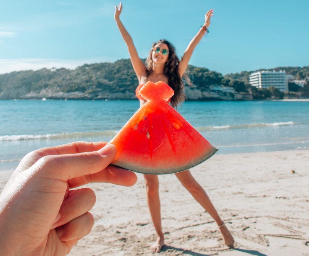 Watermelon dress on a Balearic Island - With Love, Gergana