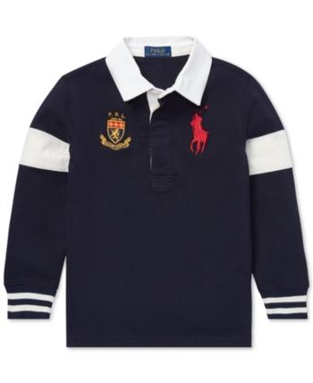b005b70c Polo Ralph Lauren Toddler Boys Big Pony Cotton Rugby Shirt - RL Navy 2/2T