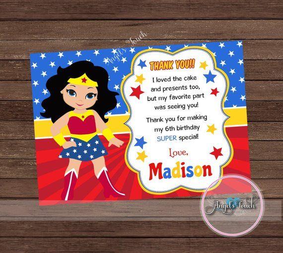 Wonder Woman Thank You Card Wonder Woman Thank You Note