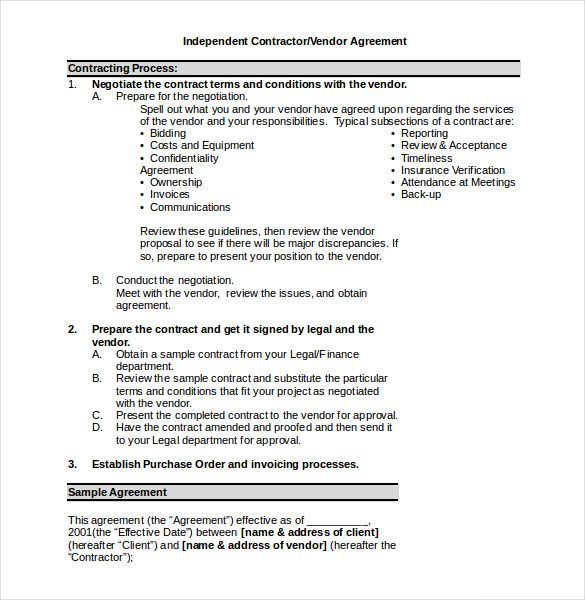 Independent Vendor Contractor Word Doc , 23+ Simple Contract - Purchase Order Agreement Template