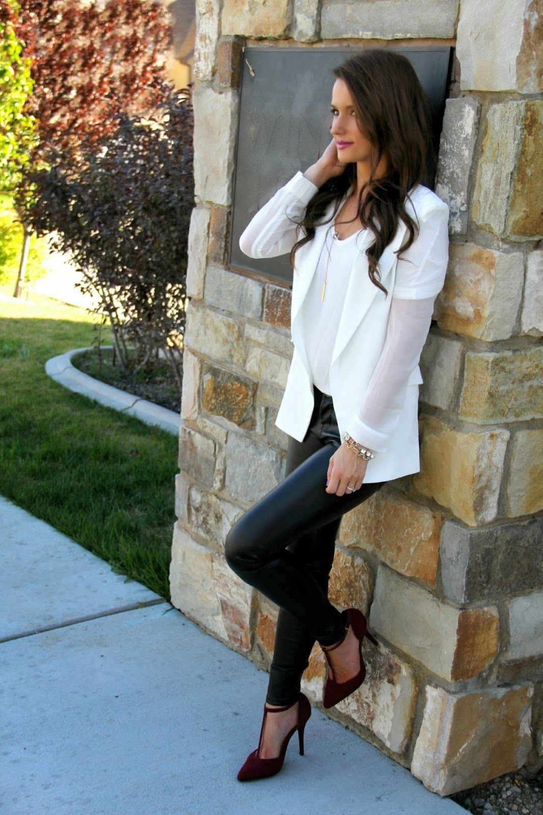 Kiss Me Darling: ON REPEAT…. featuring Chicwish white blazer. burgundy heels, faux leather leggings, dainty necklace, fall outfit