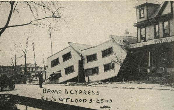 Columbus Ohio 1913 Flood Broad Street And Cypress Ohio