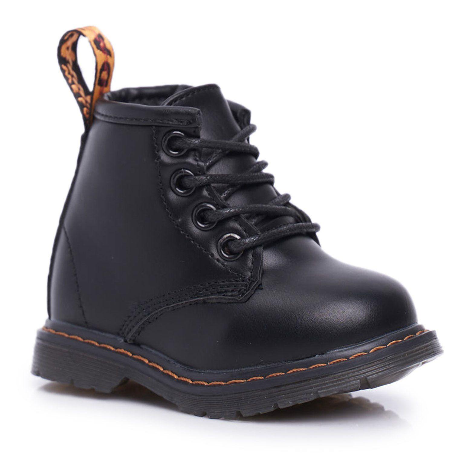 Frrock Dzieciece Mlodziezowe Botki Ocieplane Z Suwakiem Czarne Goopy Combat Boots Boots Dr Martens Boots