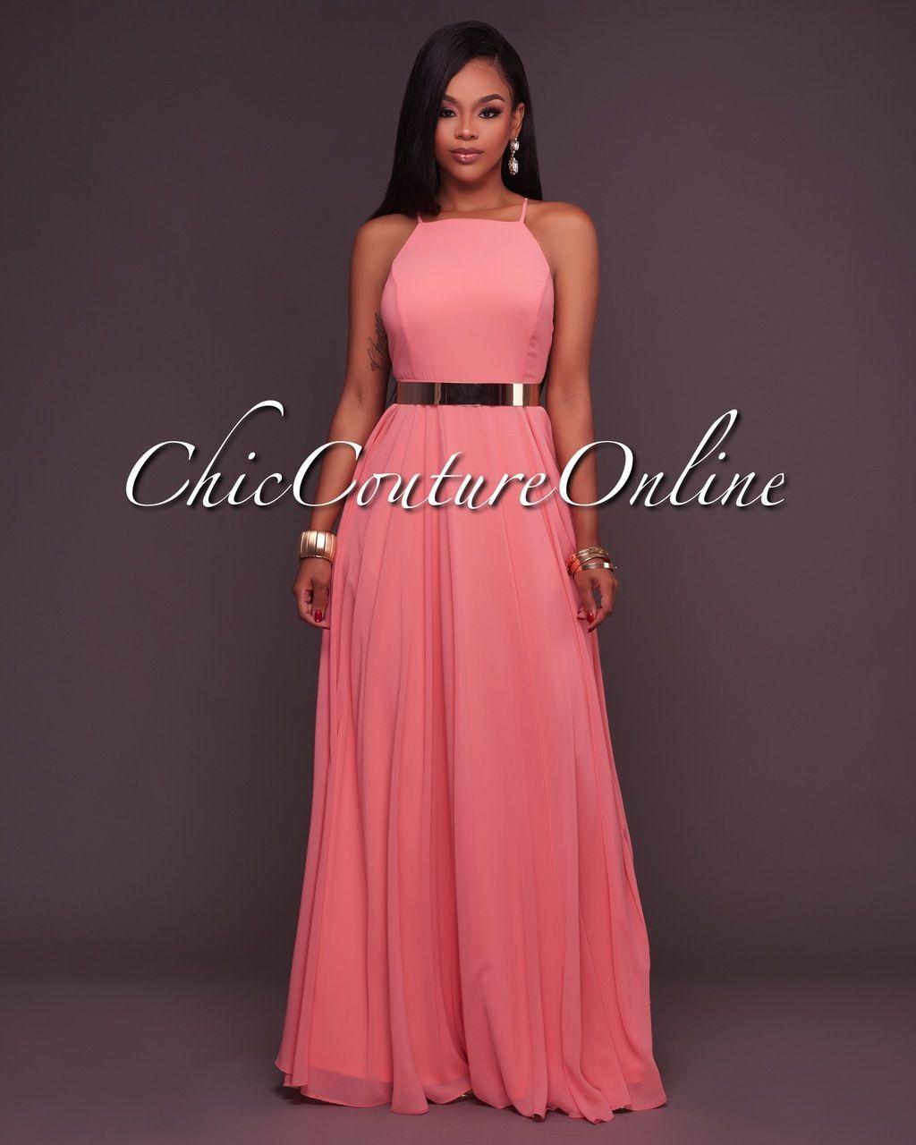 Divine Peach CrissCross Back Maxi Dress