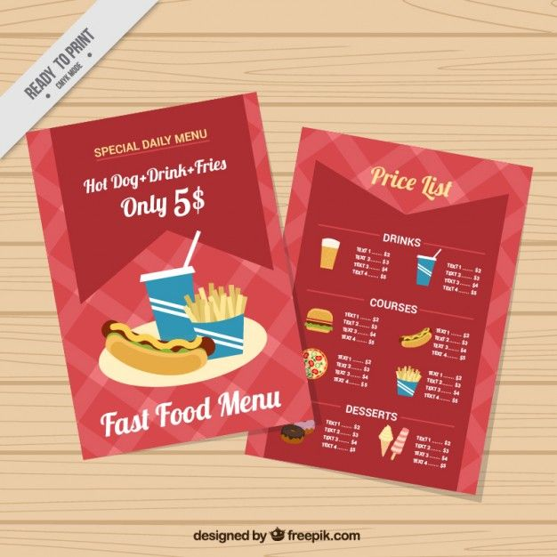 Fast Food Menu Template Free Vector  Freepik    Food