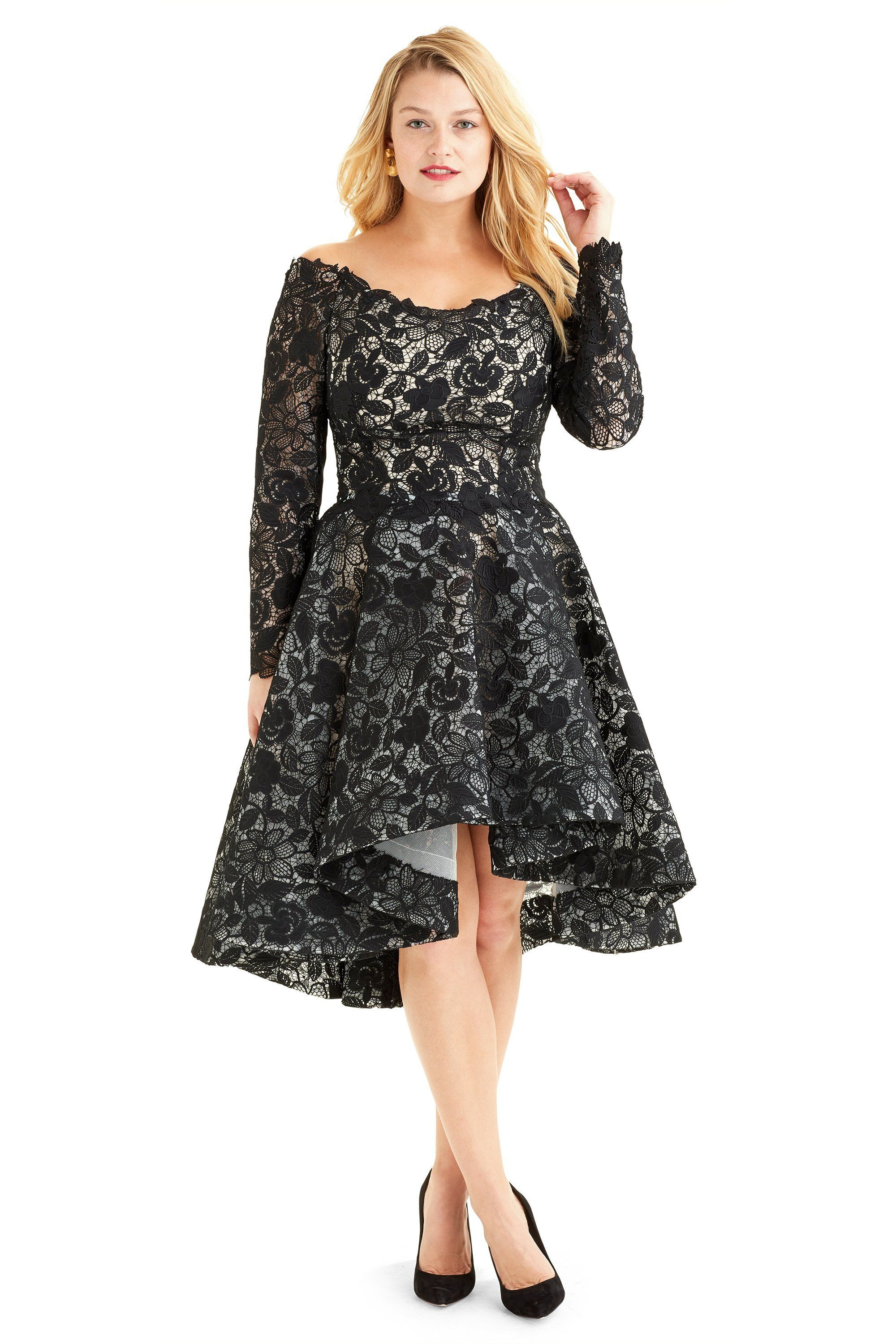 Monique lhuillier lace high low flared long sleeve cocktail dress