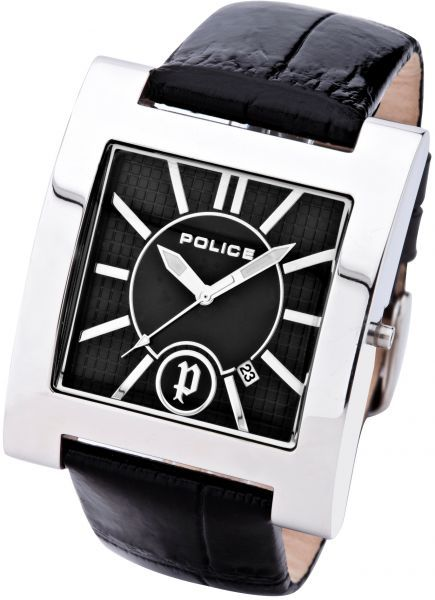Police Phonix Men's Leather Band Stainless Steel Analog