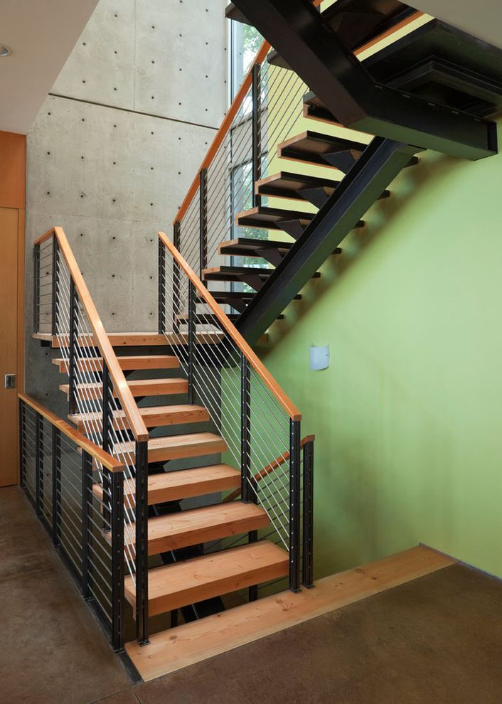 Thick Stair Treads With Contemporary Staircase Also Accent Wall Cable  Railing Concrete Concrete Floors Concrete Wall Contemporary Floating Stairs  Green Wall ...