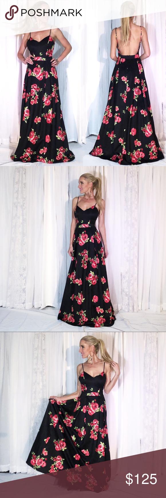 Black floral open back fit flare aline prom dress boutique ekkor