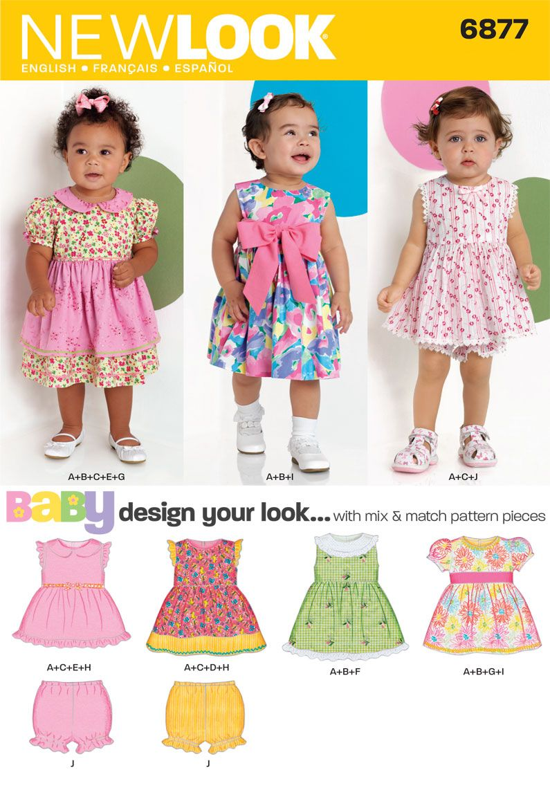 ce0b64187373 Babies Design Your Look Dresses Sewing Pattern 6877 New Look | Baby ...