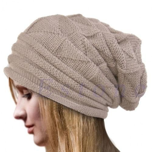 One Size Fits All MENS WOMENS UNISEX WARM KNITTED SKI BEANIE HAT BEIGE