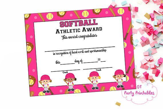 softball certificate of achievement softball award print at home