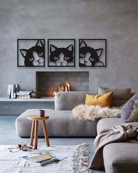 Cat 3 Pieces Metal Wall Art, Modern Rustic Wall Decor, Living Room