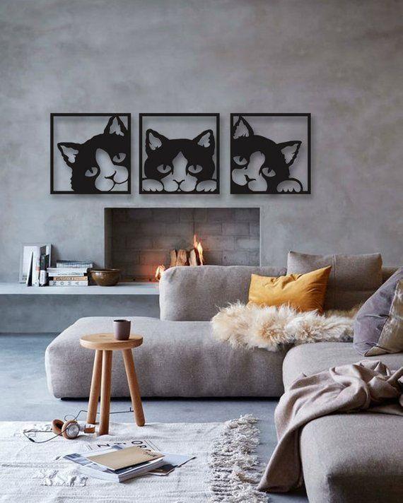 metal wall art decor for living room walls cat 3 pieces modern rustic home special design new ho