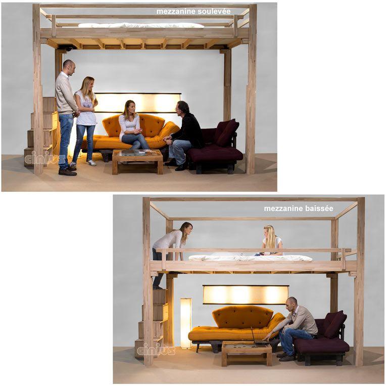 Lit escamotable réglable électriquement en hauteur, mezzanine ...