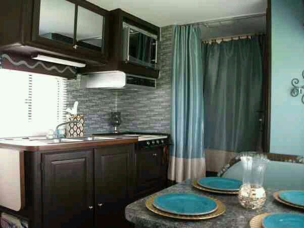 DIY Glam RV Remodeled 1986 Winnebago With Tufted Wall Cant Believe More People Dont Think To Update And Redesign Their RVs Love The Dark Cabinets