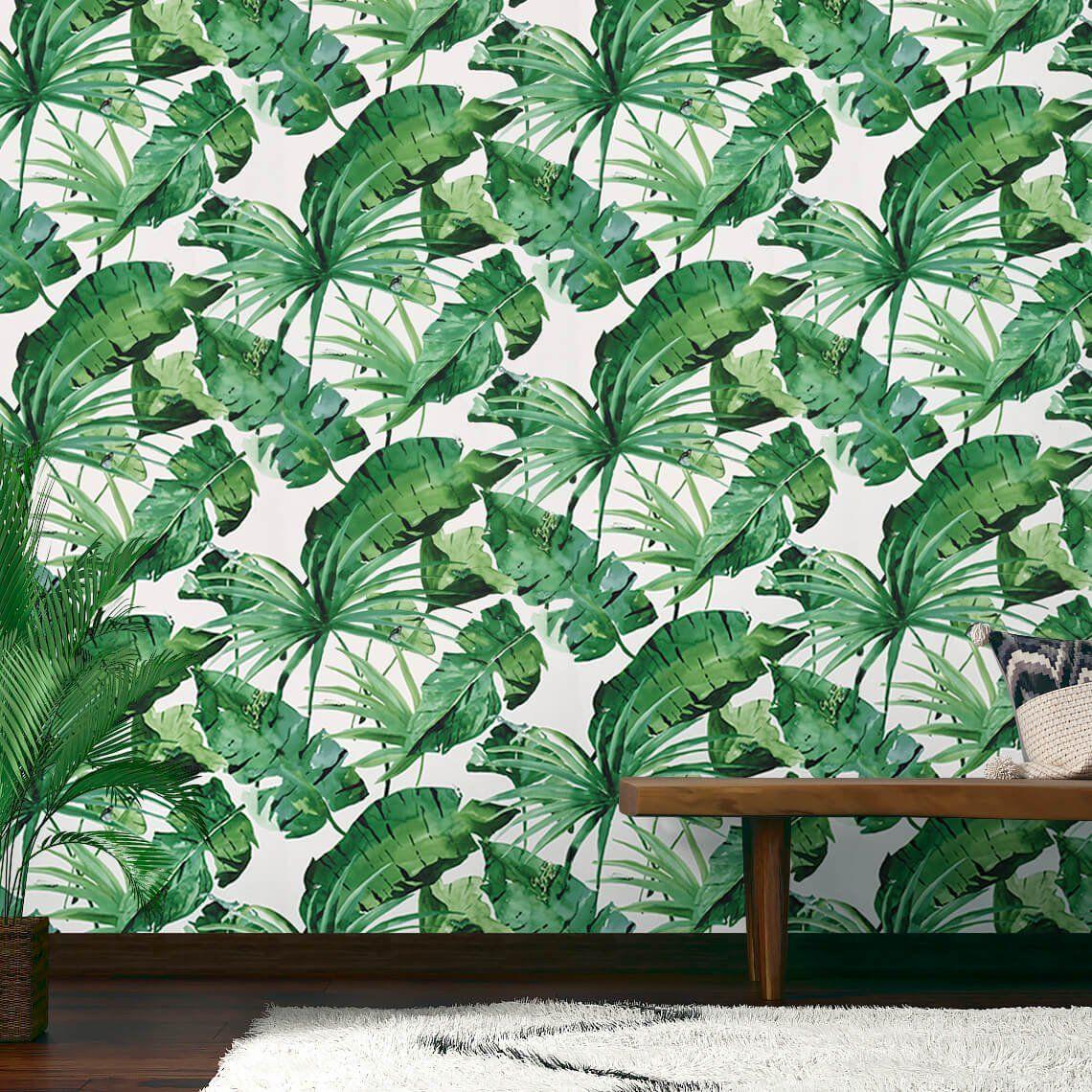 Papier Peint TROPIK Vinyle Sur Intissé Motif Tropical, Vert Trèfle   Les  Papiers Peints Motif