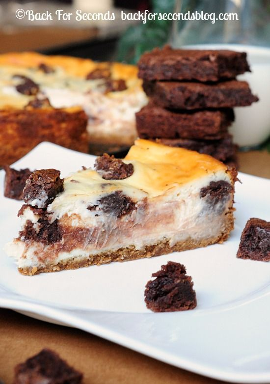 Brownie Stuffed Cheesecake with a Peanut Butter Cookie Crust - http://backforsecondsblog.com  #cheesecake #dessert #chocolate