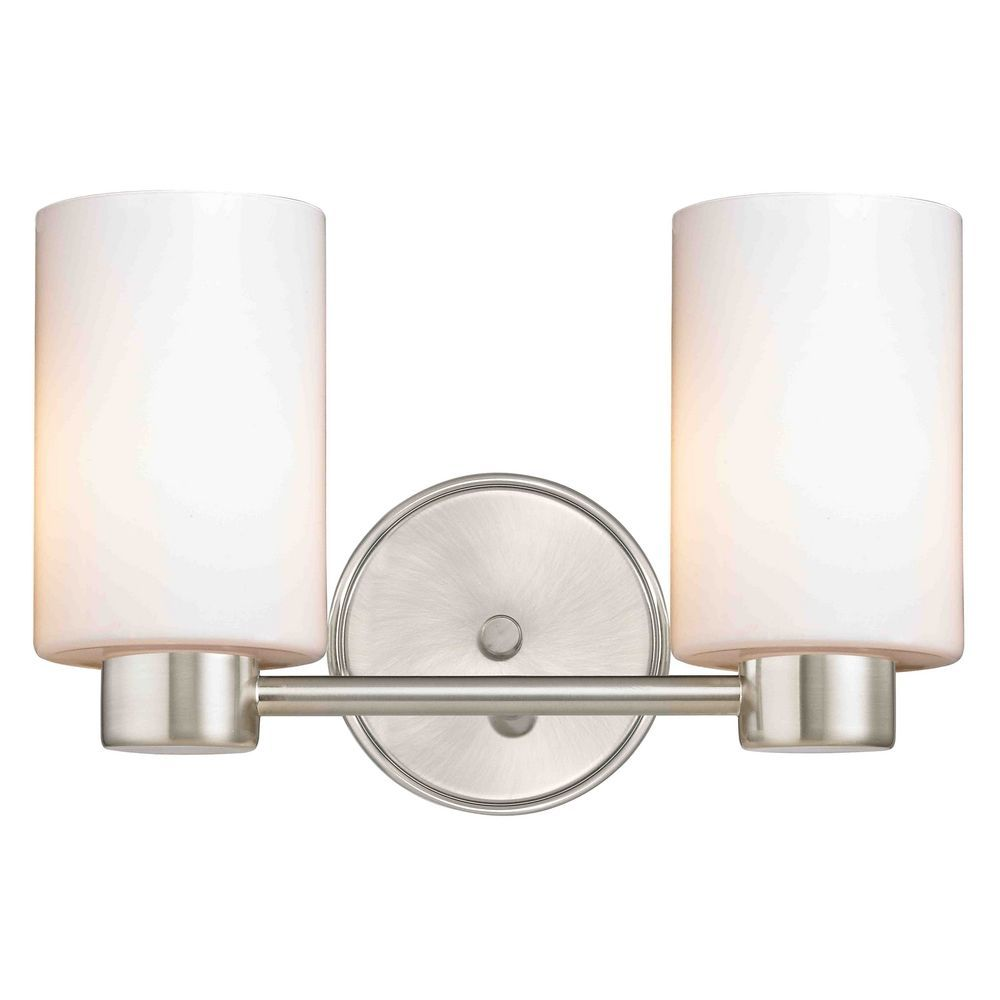 Aon Fuse Modern Satin Nickel Bathroom Light with Cylinder Glass ...