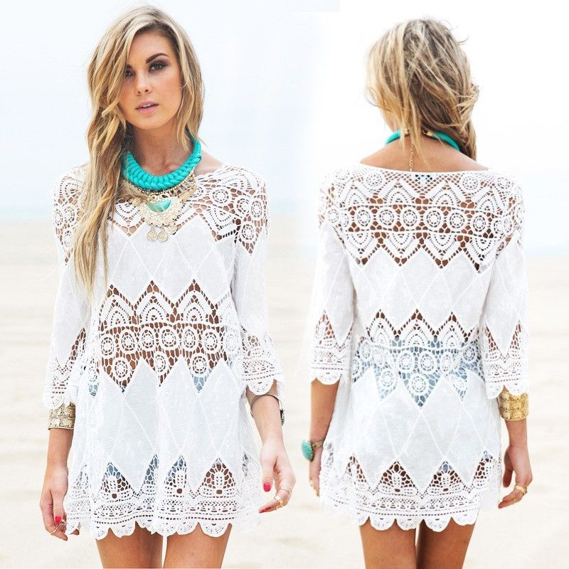 03b74ec310968 Women splice casual white mini lace beach dresses Beach Fashion