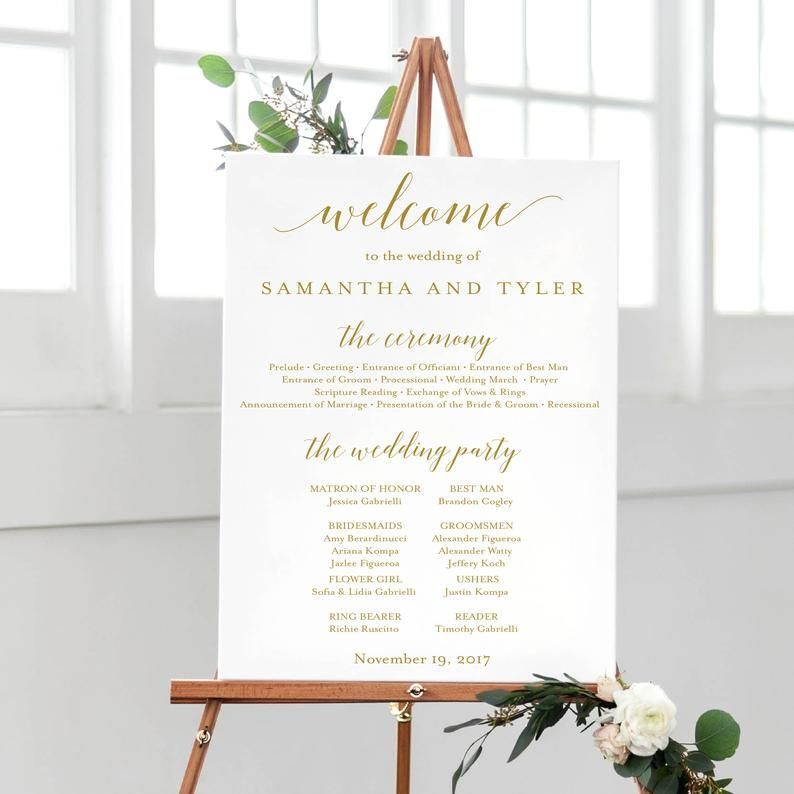 Printed Wedding Welcome And Program Print Calligraphy Welcome