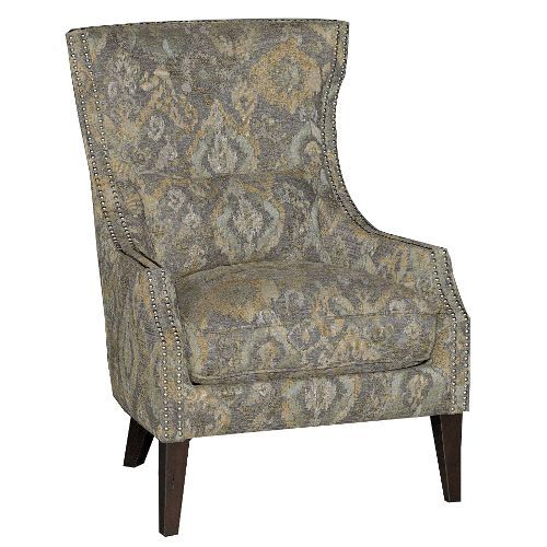 Ikat Stone Classic Traditional Wing Chair   Crafton