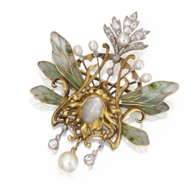 18 KARAT GOLD, PLIQUE-À-JOUR ENAMEL, CARVED MOONSTONE, PEARL AND DIAMOND PENDANT-BROOCH, LOUIS AUCOC, FRANCE, CIRCA 1900