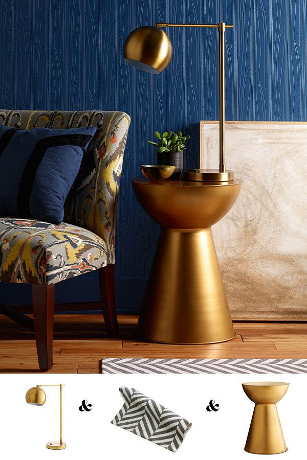 A Glamorous Side Table, Dramatic Floor Lamp And Some Bold Patterned Accents  Make For