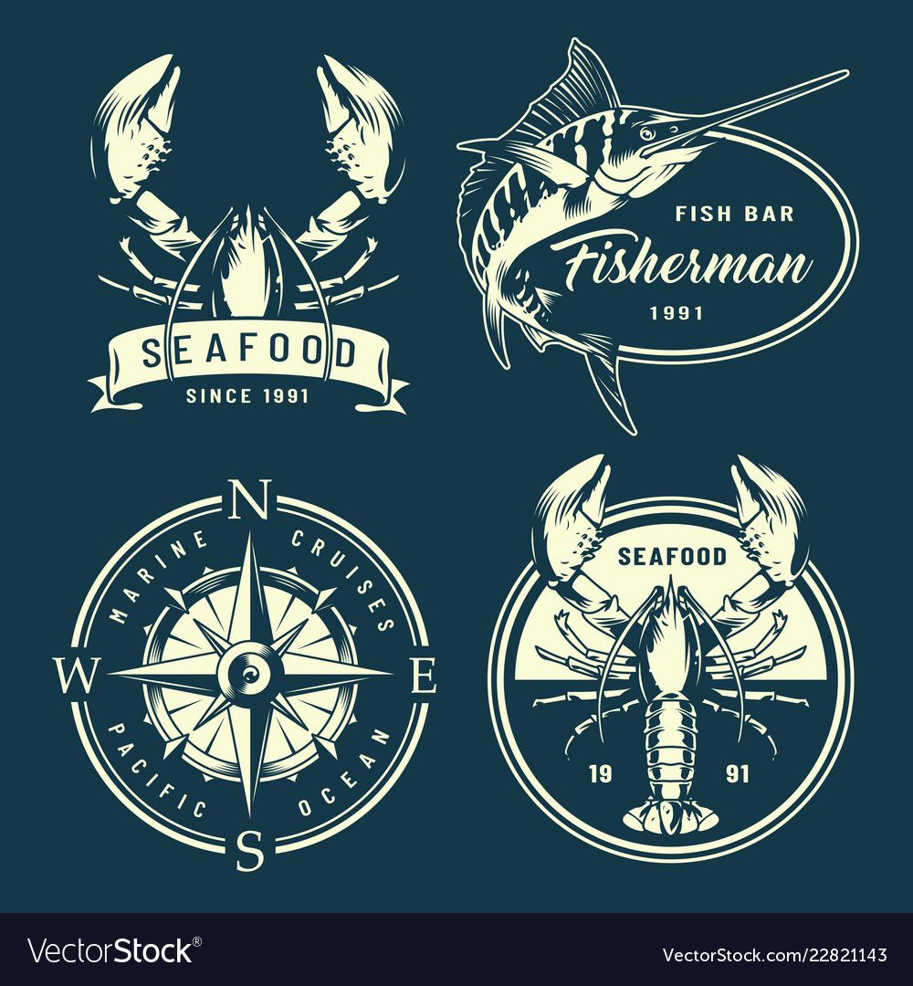Vintage Monochrome Nautical And Marine Labels Vector Image