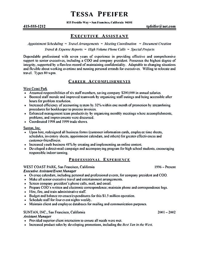 Executive Assistant Resume Sample Executive Assistant Resume Is Made For  Those Professional Who Are Interested In Applying Job Related To Secretary  Field.