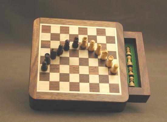Sheesham Wood Square Magnetic Chess Set w/drawer 5